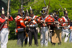 Battle scene during a War of 1812 re-enactment Royalty Free Stock Photo