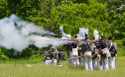 Battle scene during a War of 1812 re-enactment Royalty Free Stock Image