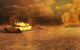 Battle scenery on the desert Stock Photo
