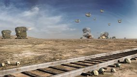 Battle scenery with futuristic machines. And railroad Stock Photos
