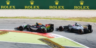 Battle between Sergio Perez and Jensen Button at Monza 2014 Stock Images