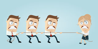 Battle of the sexes. Cartoon illustration Stock Photography