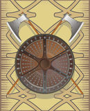 Battle shield with axes Stock Image