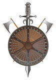 Battle shield with axes and sword Stock Images