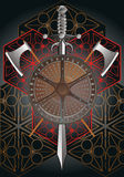 Battle shield with axes and sword final. Battle shield with axes and sword on background with abstract pattern Royalty Free Stock Images