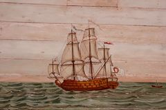 Battle Ship painted on Wood Stock Image