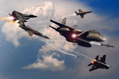 Battle in the sky. Several fighter planes fighting in the sky Stock Images