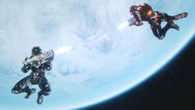 Battle of soldiers of the future in open space near the blue planet. Shootout in deep space. Animation for sci-fi