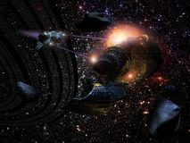 Battle in space. A science fiction spaceship attacks another one, near several asteroids and a planet rings. Lots of stars on background Stock Image