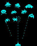 Battle with space invaders Royalty Free Stock Photos