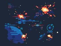 Battle star space. Fantasy science futuristic, spaceship alien, cosmic war with sci-fi, vector illustration stock illustration