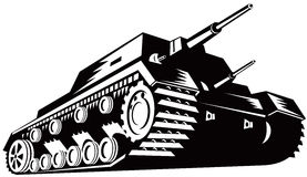 Battle tank. Vector art of a Battle tank isolated on white Stock Photos