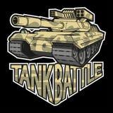 Battle tank logo on black background. Vector graphic to design stock illustration