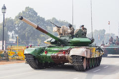 Battle Tank and military men take part in rehearsal activities for the upcoming India Republic Day parade. New Delhi, India. NEW DELHI, INDIA - JANUARY 23, 2017 Stock Photography