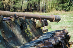Battle tank in a moor between two forests Stock Photography