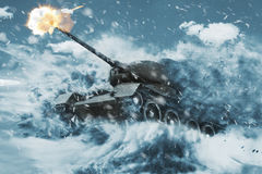 Battle Tank is moving in the snow storm Stock Photo