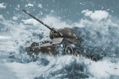 Battle Tank is moving in the snow storm Stock Images