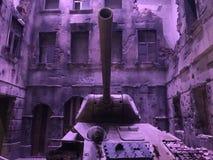 Battle Tank Near Concrete Structures Stock Photo