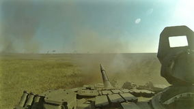 Battle tank riding and firing POV, POVD. Battle tank riding and firing on batllefield POV, POVD stock footage