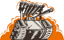 Battle tank with rocket launcher stock illustration