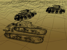 Battle tank on sand wire frame Stock Photo