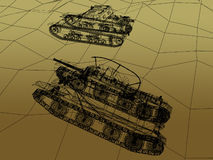 Battle tank on sand wire frame Royalty Free Stock Photo