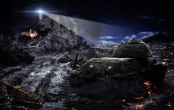 Battle tank scene Stock Photo