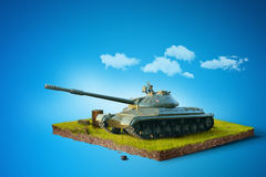 Battle Tank on a square piece of ground. 3D illustration Stock Images