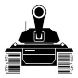 Battle tank symbol with bar code Stock Photos