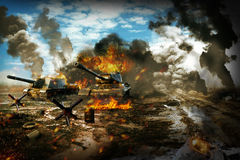 Battle Tank in the war zone. Tank mission to destroy enemy targets Royalty Free Stock Photos