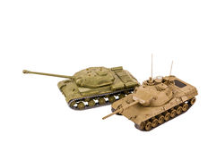 Battle tanks IS-2 and Leopard 1 (isolated) Stock Images