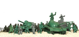 Battle tanks plastic toy panorama Stock Images