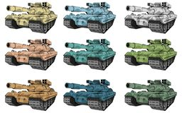 Battle tanks set, different types of camouflage tank, battle tank colored drawing. Vector graphic to design royalty free illustration