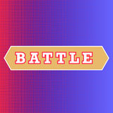 Battle text on red and blue background. Classic pop-art style battle intro. Halftone print texture, red and blue corner royalty free illustration