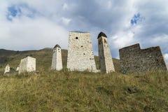 Battle towers Erzi in the Jeyrah gorge, Republic of Ingushetia Stock Image