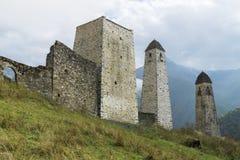 Battle towers Erzi in the Jeyrah gorge, Republic of Ingushetia Stock Photos