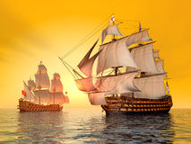The Battle of Trafalgar. Computer generated 3D illustration with the British Flagship HMS Victory and a French Warship Stock Photo