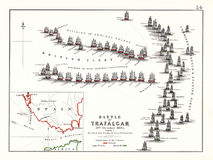 Battle of Trafalgar Early Day, Oct. 21, 1805. 1874 Antique Print of the Battle of Trafalgar, October 21, 1805, between Great Britain and a combined Spanish and Stock Photo