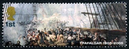Battle of Trafalgar UK Postage Stamp. GREAT BRITAIN - CIRCA 2005: A used postage stamp from the UK, commemorating the 200th Anniversary of the Battle of Royalty Free Stock Image