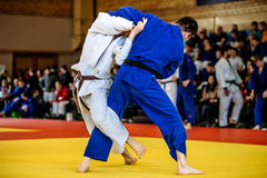 Battle of two fighters judo Stock Photo