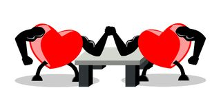 Battle between two opponent hearts, fighting by using arm wrestling match, vector illustration, EPS10. Concepts of strong heart, fighting for love, etc. The Stock Image