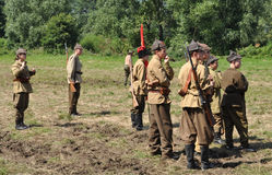 Battle of Warsaw. Participants of Soviet infantry reenact the historical Battle of Warsaw (1920 Stock Photos