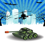 Battlefield. Colorful illustration with tank, military helicopter and plane near a city. Battlefield concept Royalty Free Stock Photography