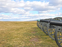 Battlefield Cannons. A row of artillery cannons at Antietam Battlefield Royalty Free Stock Image