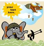 Battlefield cartoon vector. Elephant under attack, vector cartoon illustration. EPS 10 Royalty Free Stock Images