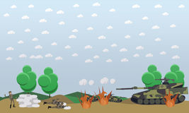 Battlefield concept vector illustration in flat style. Battlefield concept vector illustration. Military actions at the front flat style design elements Stock Photography