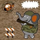 Battlefield with cute soldier cartoon. Cute soldier shoot down a military helicopter with bazooka on camouflage background. Vector cartoon illustration, no mesh Stock Images
