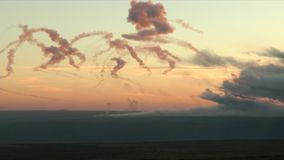 Battlefield in fire: the bombardment of heavy artillery stock footage