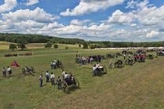 Battlefield at Gettysburg. Reenactors prepare the battlefield at the 150th anniversary of the battle of Gettysburg, Pennsylvania Stock Photo