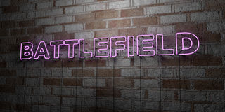 BATTLEFIELD - Glowing Neon Sign on stonework wall - 3D rendered royalty free stock illustration. Can be used for online banner ads and direct mailers Stock Photography